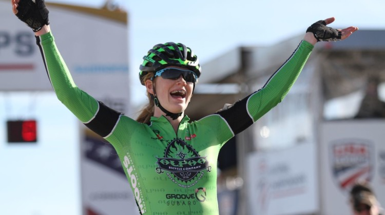 Ahshely Zoerner wins the Junior 15-16 women. 2018 Cyclocross National Championships. © D. Mable/ Cyclocross Magazine