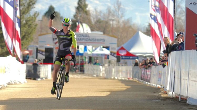 Magnus Sheffield won the Junior Men's 15-16 race in Reno. 2018 Cyclocross National Championships. © D. Mable/ Cyclocross Magazine