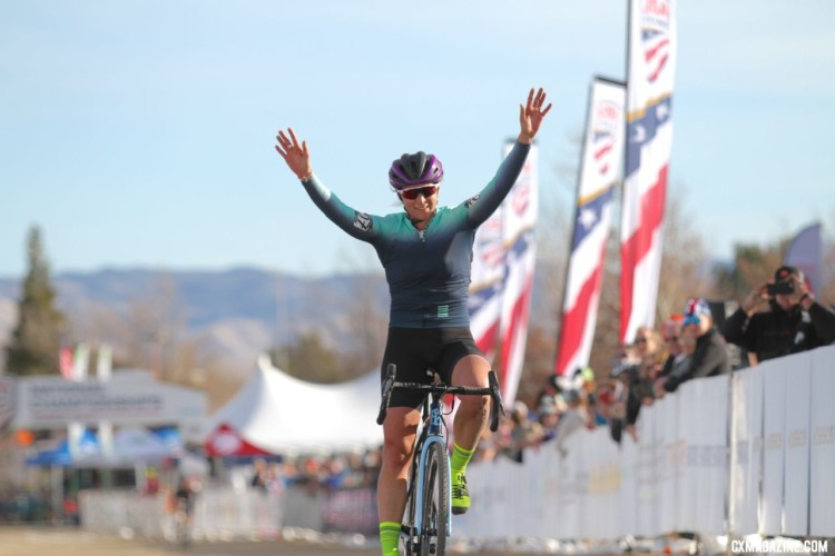 What retirement? Meredith Miller emerges with one gear and spun it to a Singlespeed National Champion. 2018 Cyclocross National Championships. © D. Mable/ Cyclocross Magazine