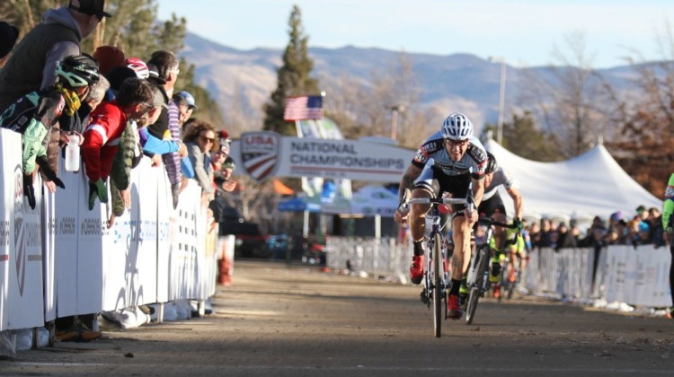 Adam Myerson won a sprint to win the Masters 45-49 title. 2018 Cyclocross National Championships, Masters 45-49. © D. Mable/ Cyclocross Magazine