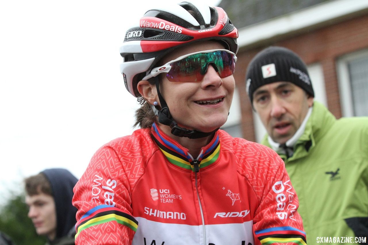 Marianne Vos will be starting her season at World Cup Waterloo, where it will likely be a bit warmer than the usual start to her season. 2018 GP Sven Nys Baal. © B. Hazen / Cyclocross Magazine
