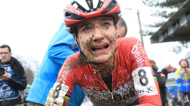 After racing, Marianne Vos looked a bit more weathered. 2018 GP Sven Nys Baal. © B. Hazen / Cyclocross Magazine