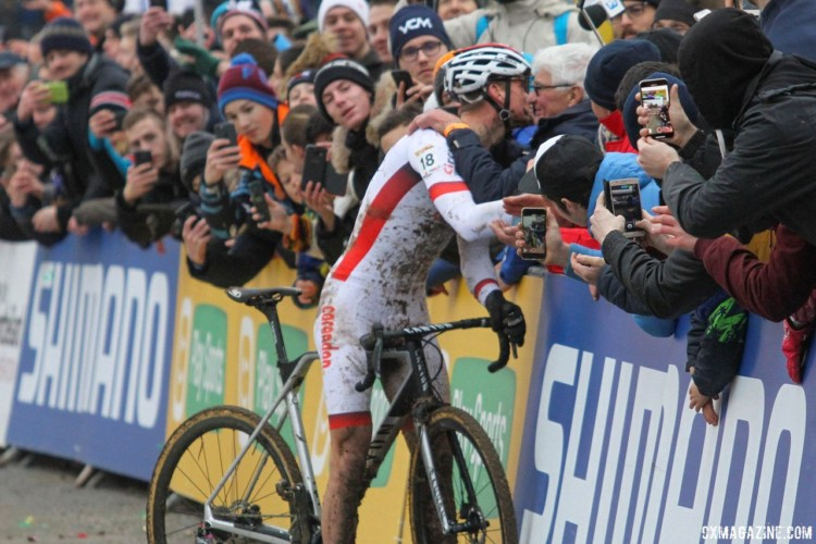 Mathieu van der Poel celebrates his win. 2018 Telenet UCI World Cup Nommay. © B. Hazen / Cyclocross Magazine