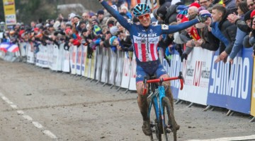 Katie Compton took the win at World Cup Nommay. 2018 Telenet UCI World Cup Nommay. © B. Hazen / Cyclocross Magazine