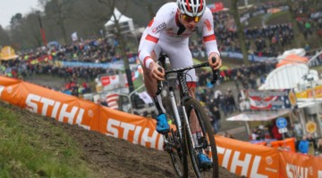 Mathieu van der Poel escaped solo in the first lap. 2018 Hoogerheide World Cup. © B. Hazen / Cyclocross Magazine