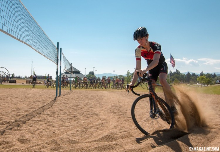 Henry Jones rips it in the sand at camp. 2017 Montana Cross Camp. © Cyclocross Magazine