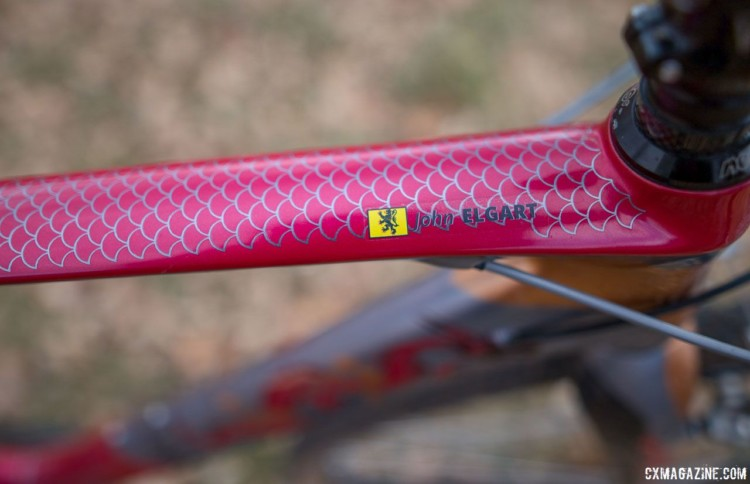 A dragon scale pattern dresses the top tube, with Elgart's name and the Lion of Flanders providing further customization. 2018 Cyclocross National Championships. © A. Yee / Cyclocross Magazine