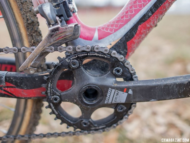 While the bike has both a front derailleur and two chainrings, Elgart can only use the larger Wolf Tooth narrow-wide ring. The derailleur and inner chainring act only as chain guards. John Elgart's Masters 70-74 winning cyclocross bike. 2018 Cyclocross National Championships. © A. Yee / Cyclocross Magazine