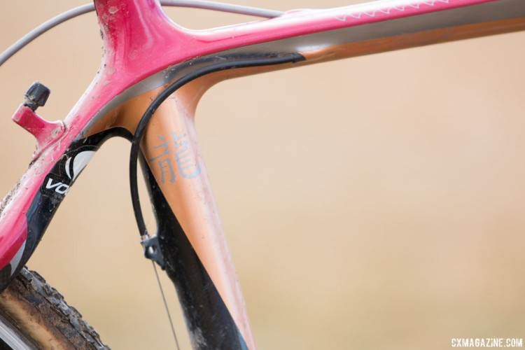 The front derailleur cable is routed through the top tube and into a stop on the seat tube. A pulley allows use of bottom pull road derailleurs. John Elgart's Masters 70-74 winning cyclocross bike. 2018 Cyclocross National Championships. © A. Yee / Cyclocross Magazine