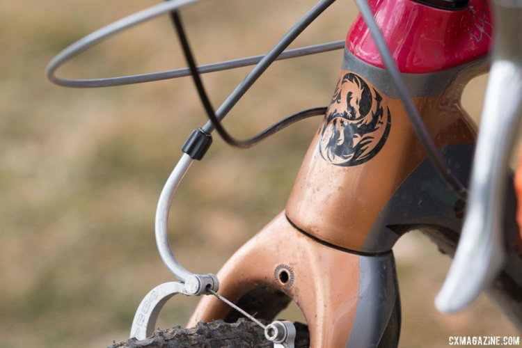 Elgart's bike has Paul Mini Moto linear pull brakes, but the frame was originally designed for cantilevers. The fork crown is drilled to accept a cable stop, which was a common way to reduce brake shudder when cantilevers were prominent. John Elgart's Masters 70-74 winning cyclocross bike. 2018 Cyclocross National Championships. © A. Yee / Cyclocross Magazine