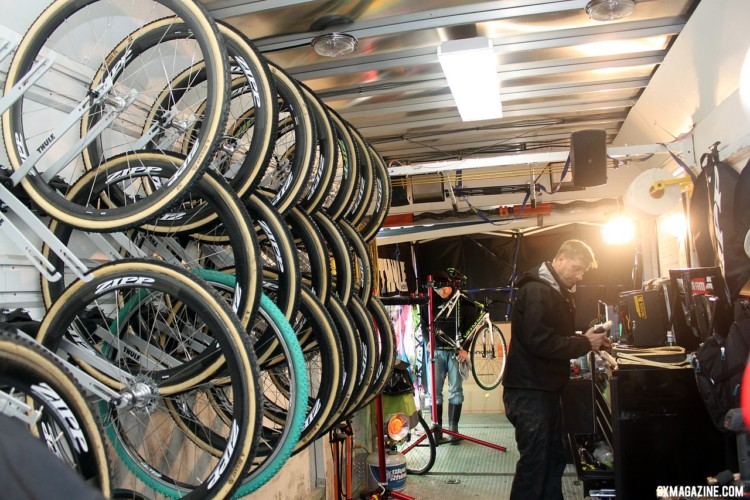 Even in 2011, Cannondale p/b CyclocrossWorld had one of the most complete setups, with a trailer full of backup equipment and Stu Thorne leading the efforts. © Cyclocross Magazine