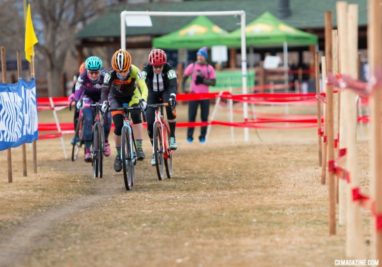 A group of four quickly formed in the first lap. Masters Women 35-39. 2018 Cyclocross National Championships. © A. Yee / Cyclocross Magazine