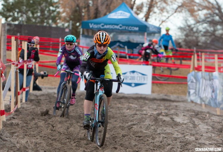 Richardson got her winning gap in the sand. Masters Women 35-39. 2018 Cyclocross National Championships. © A. Yee / Cyclocross Magazine