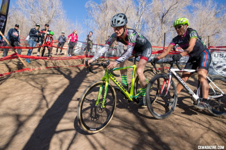 Rubbin' is racin' for Lisa Hudson and Tanya Bettis. Masters Women 45-49. 2018 Cyclocross National Championships. © A. Yee / Cyclocross Magazine