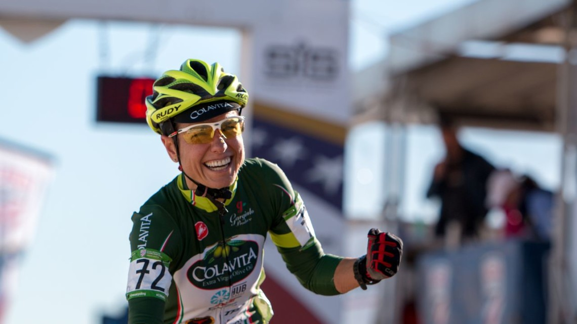 Stacey Barbosa finally gets her gold medal after two silvers and two bronze finishes at Cyclocross Nationals. Masters Women 50-54. 2018 Cyclocross National Championships. © A. Yee / Cyclocross Magazine