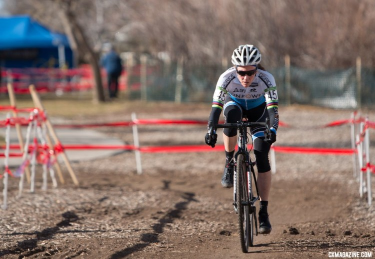 Karen Brems was focused once she had the advantage. Masters Women 55-59. 2018 Cyclocross National Championships. © A. Yee / Cyclocross Magazine