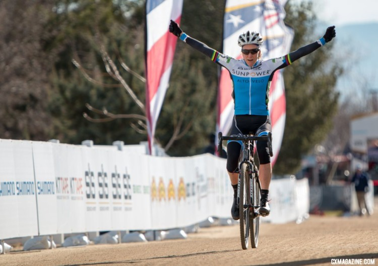 Karen Brems finished in a celebratory mood. Masters Women 55-59. 2018 Cyclocross National Championships. © A. Yee / Cyclocross Magazine
