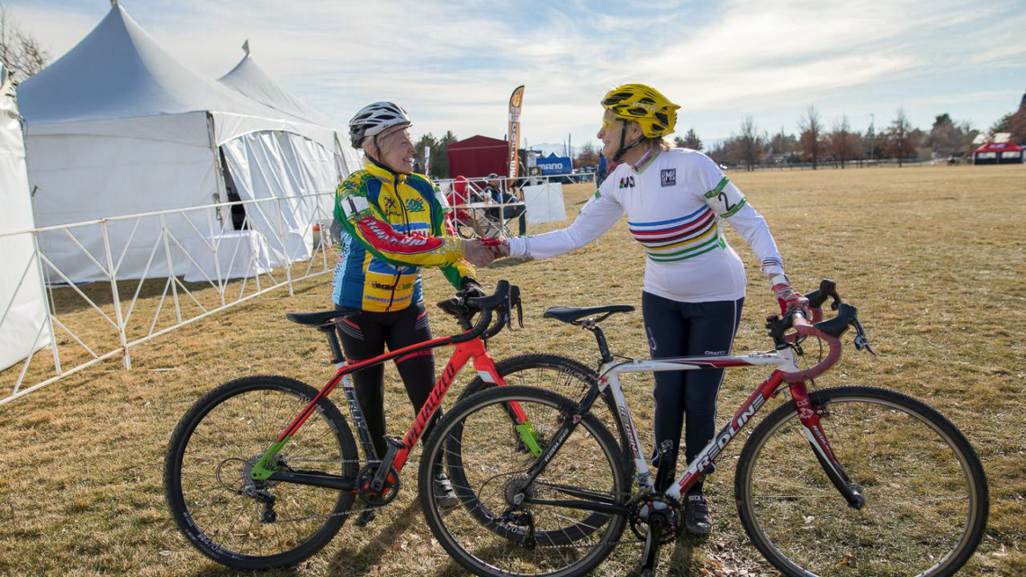 Frances Marquart and Julie Lockhart shake hands after their race. Masters 60+. 2018 Cyclocross National Championships. © A. Yee / Cyclocross Magazine