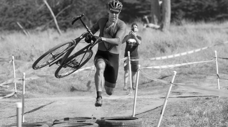 Justin Robinson shows off expert tire barrier technique. 2016 Rock Lobster Cup delivered grassroots racing, celebrity sightings and fund raising for the Rock Lobster cyclocross team. © Cyclocross Magazine