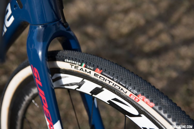 Hyde rode Challenge Team Edition Dune tires, which offer a diamond shaped shoulder lug for cornering in dry conditions. © Cyclocross Magazine