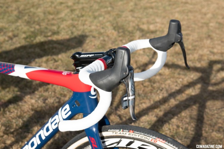 Hyde's CX1 levers are rolled back slightly, giving him a good position to brace against. © C. Lee / Cyclocross Magazine