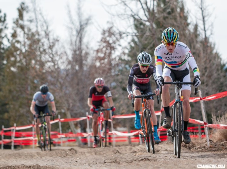 Hecht in control before his flat ire. U23 Men, 2018 Cyclocross National Championships. © A. Yee / Cyclocross Magazine