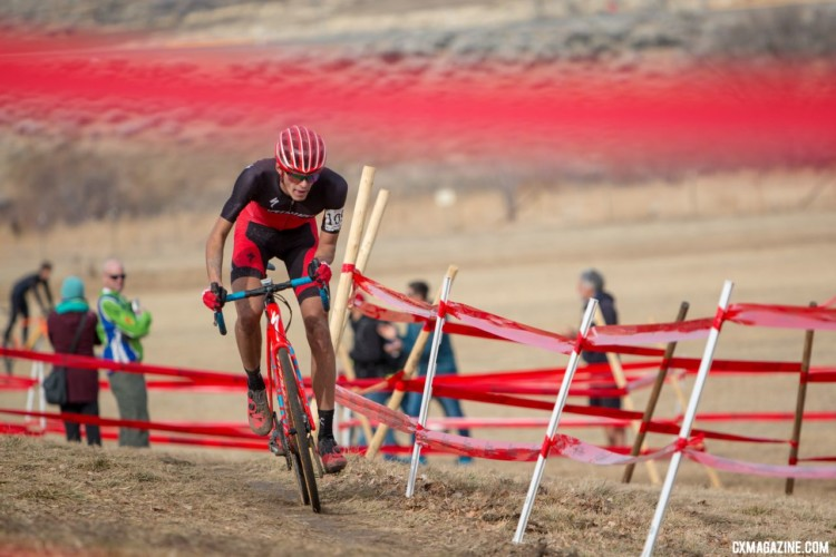 Blevins on the attack. U23 Men, 2018 Cyclocross National Championships. © A. Yee / Cyclocross Magazine