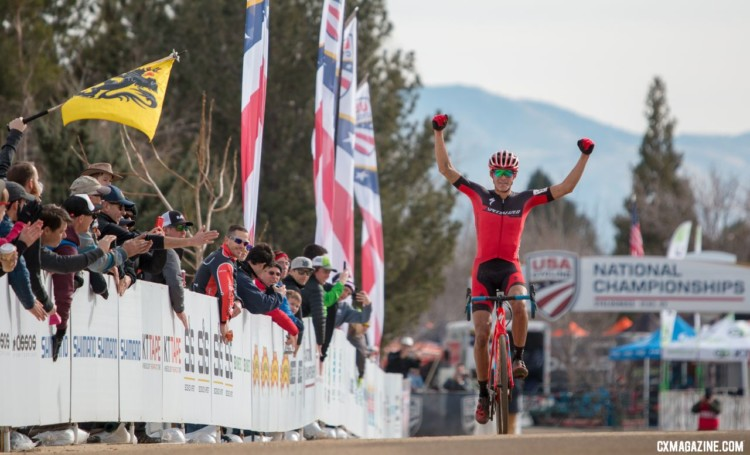 Christopher Blevins took the win in the U23 Men's race in Reno.U23 Men, 2018 Cyclocross National Championships. © A. Yee / Cyclocross Magazine