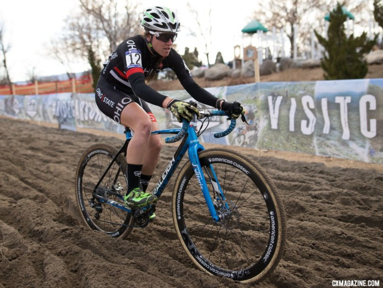 Jen Malik piloting her B bike to a Collegiate Club title at the 2018 Cyclocross National Championships. Jen Malik's Collegiate Club-winning Raleigh RXC Pro. 2018 Cyclocross National Championships. © A. Yee / Cyclocross Magazine