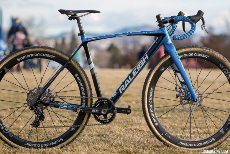 Jen Malik's Collegiate Club-winning Raleigh RXC Pro. 2018 Cyclocross National Championships. © A. Yee / Cyclocross Magazine