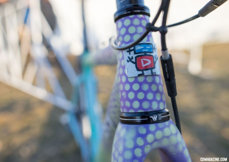 Runnels head badge, like the rest of the bike's finish, is decidedly DIY. Samantha Runnels' Collegiate Varsity silver-medal Squid cyclocross bike. 2018 Cyclocross National Championships. © A. Yee / Cyclocross Magazine