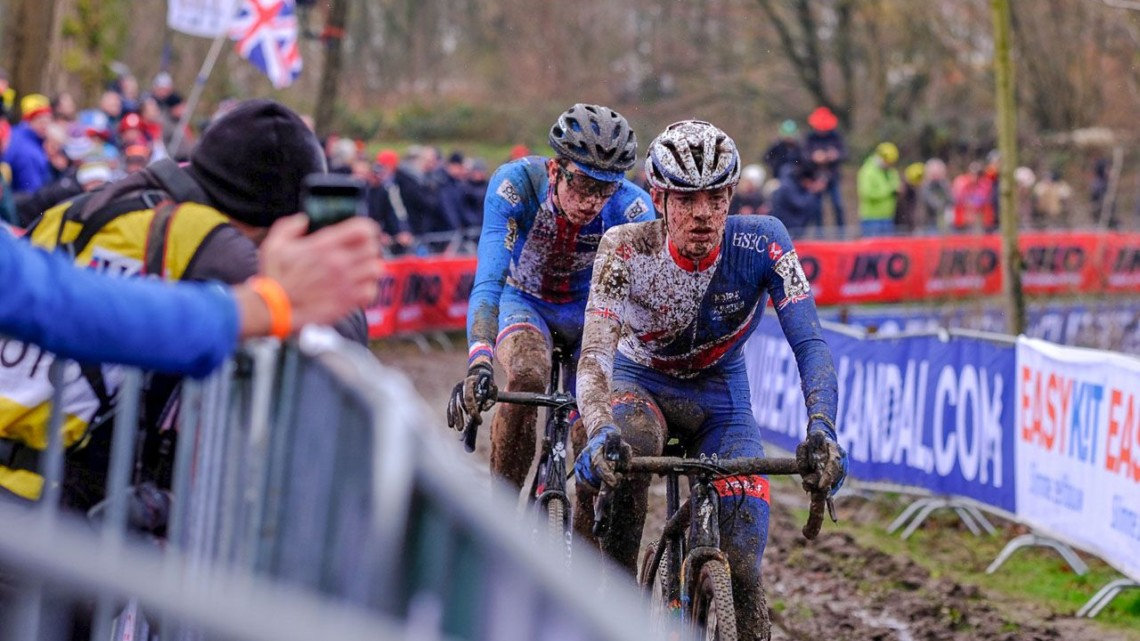 Ben Tulett and Tomas Kopecky battled into the last lap. Junior Men, 2018 UCI Cyclocross World Championships, Valkenburg-Limburg, The Netherlands. © Gavin Gould / Cyclocross Magazine