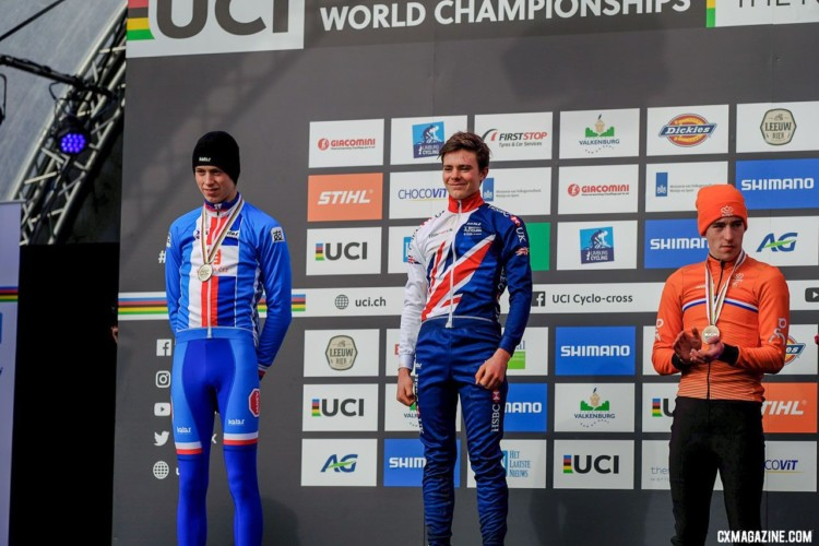 Junior Men podium: Ben Tulett, Tomas Kopecky and Ryan Kamp. Junior Men, 2018 UCI Cyclocross World Championships, Valkenburg-Limburg, The Netherlands. © Gavin Gould / Cyclocross Magazine