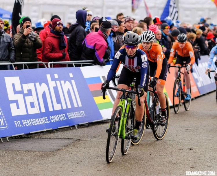 Emma White grabs the holeshot. U23 Women. 2018 UCI Cyclocross World Championships, Valkenburg-Limburg, The Netherlands. © Gavin Gould / Cyclocross Magazine