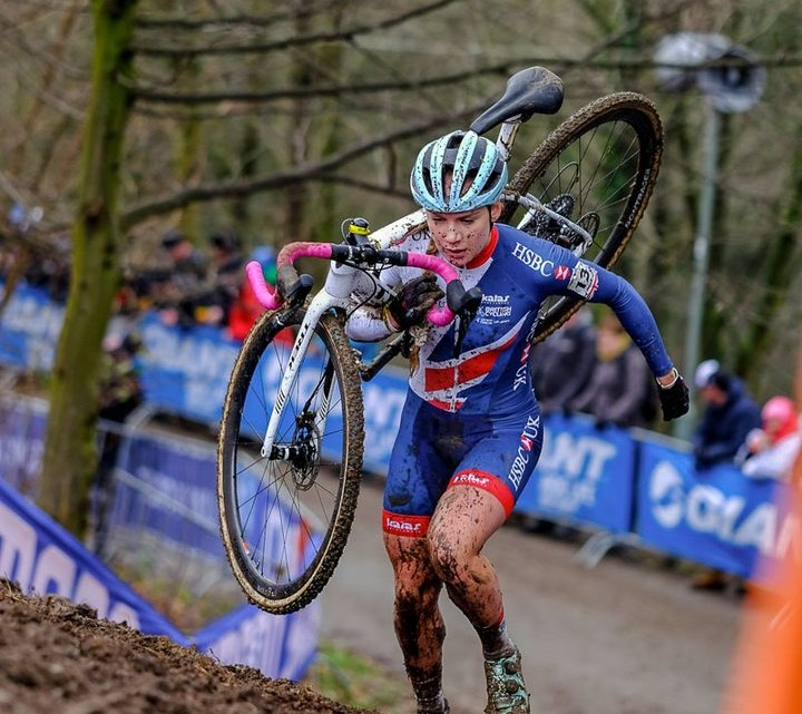 Evie Richards running away to her second U23 Women's World Title. 2018 UCI Cyclocross World Championships, Valkenburg-Limburg, The Netherlands. © Gavin Gould / Cyclocross Magazine