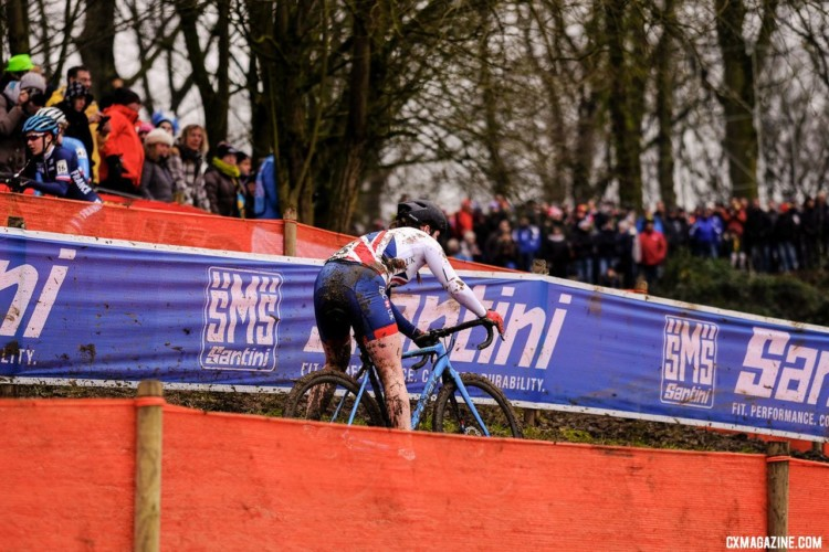 16-year-old Harriet Harnden was the day's biggest surprise, riding into second and finishing in fourth. U23 Women. 2018 UCI Cyclocross World Championships, Valkenburg-Limburg, The Netherlands. © Gavin Gould / Cyclocross Magazine