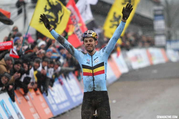 Wout van Aert posts up to celebrate his win. Elite Men. 2018 UCI Cyclocross World Championships, Valkenburg-Limburg, The Netherlands. © Bart Hazen / Cyclocross Magazine