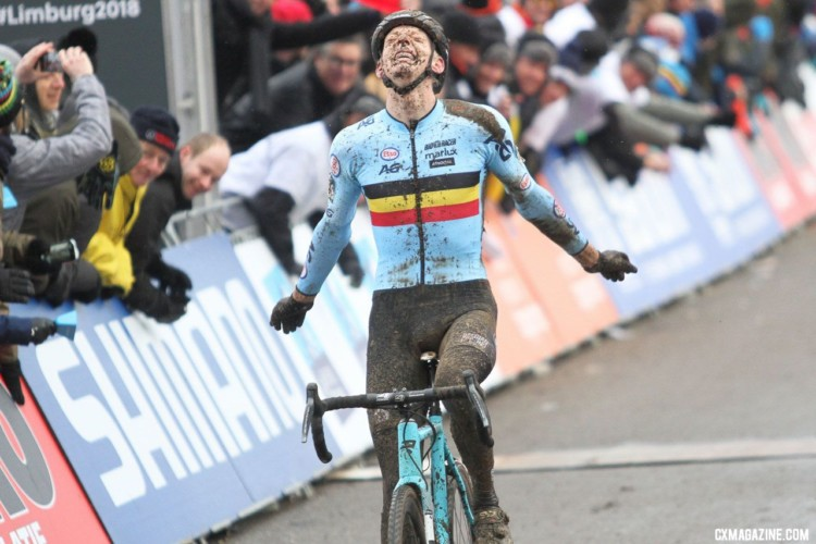 Michael Vanthourenhout celebrates his second-place finish. Elite Men. 2018 UCI Cyclocross World Championships, Valkenburg-Limburg, The Netherlands. © Bart Hazen / Cyclocross Magazine