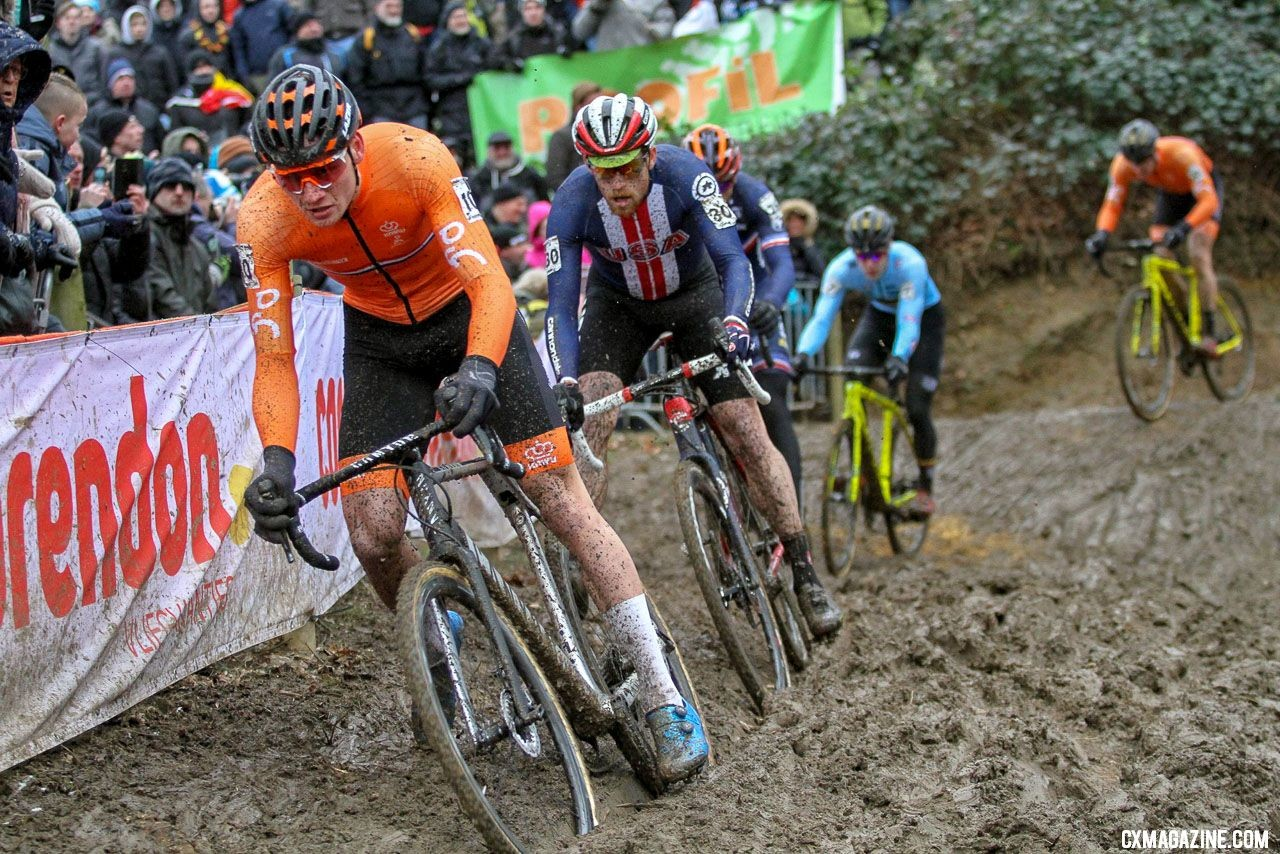 Mathieu van der Poel leads Stephen Hyde before surging into the lead by riding this off-camber when others had to dismount. 2018 UCI Cyclocross World Championships, Valkenburg-Limburg, The Netherlands. © Bart Hazen / Cyclocross Magazine
