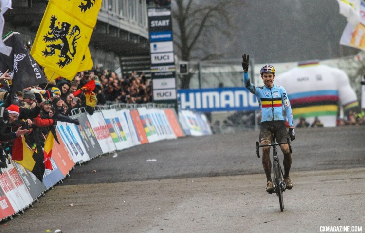 Wout van Aert joins a select Cyclocross World Champion threepeat club of four men and one women. 2018 UCI Cyclocross World Championships, Valkenburg-Limburg, The Netherlands. © Bart Hazen / Cyclocross Magazine