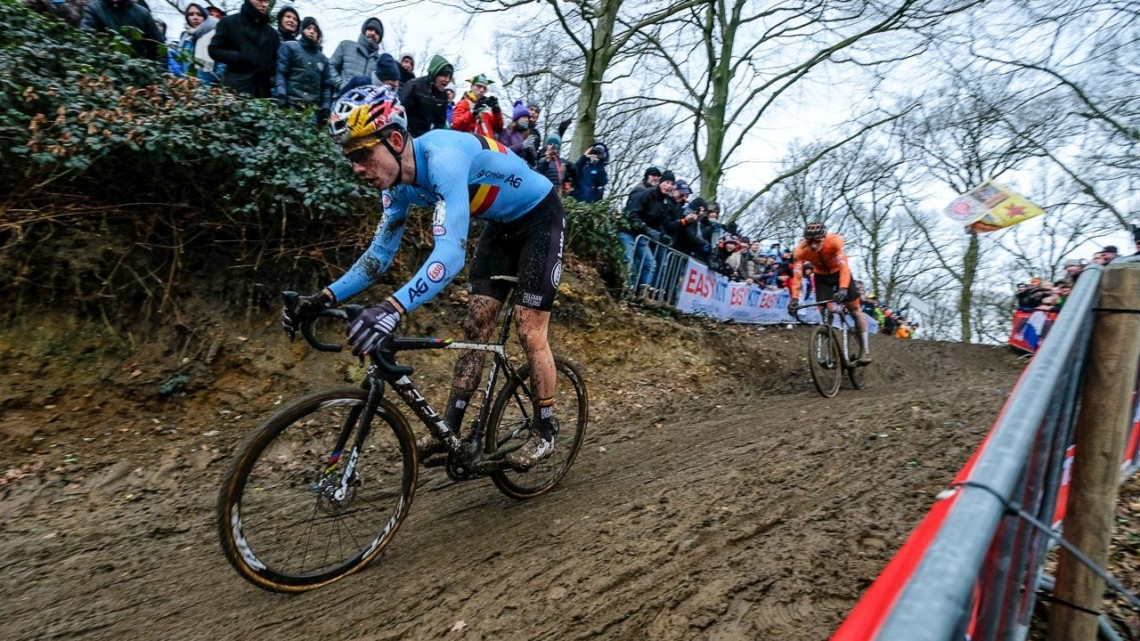 Wout van Aert and Mathieu van der Poel rode together for a bit before Van Aert dropped his rival. Elite Men. 2018 UCI World Championships, Valkenburg-Limburg. © Gavin Gould / Cyclocross Magazine
