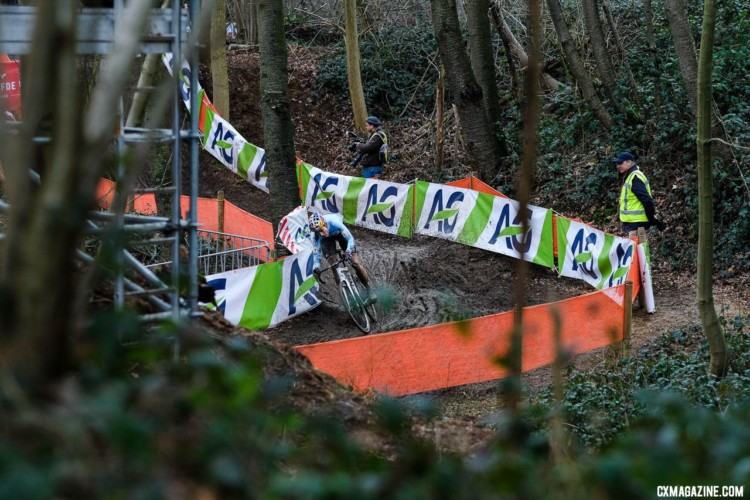 Wout van Aert was all alone going through the woods for much of the race. Elite Men. 2018 UCI World Championships, Valkenburg-Limburg. © Gavin Gould / Cyclocross Magazine