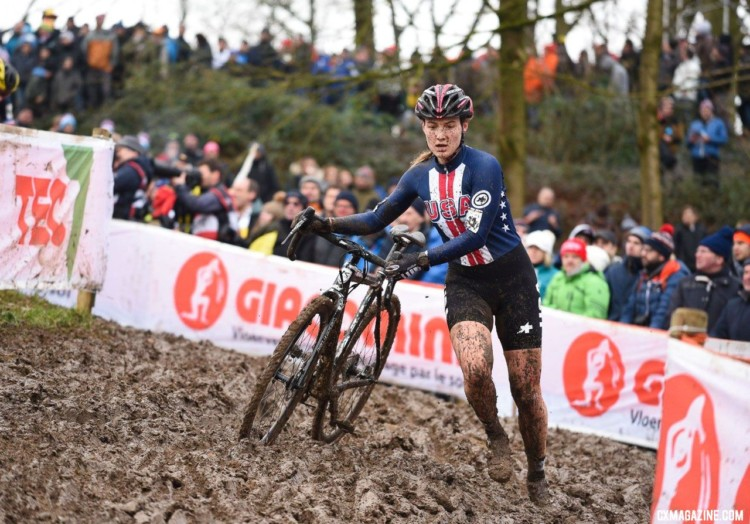 Elle Anderson had an impressive eighth-place finish. 2018 UCI Cyclocross World Championships, Valkenburg-Limburg, The Netherlands. © Bart Hazen / Cyclocross Magazine