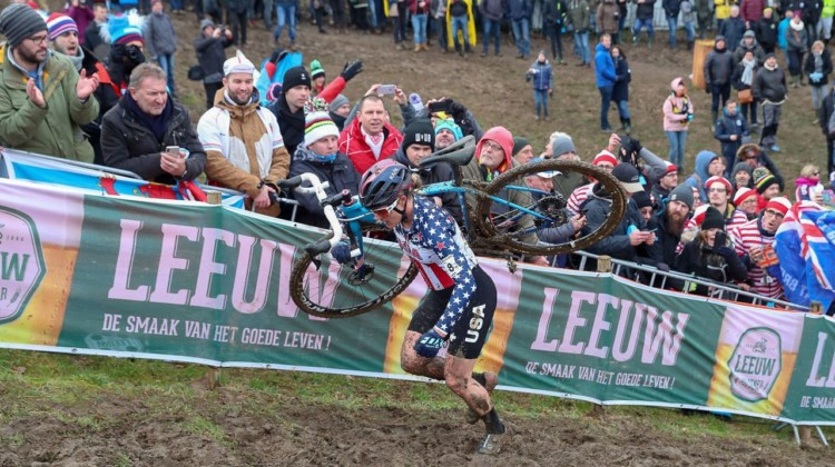 Katie Compton runs up the wall. Elite Women. 2018 UCI Cyclocross World Championships, Valkenburg-Limburg, The Netherlands. © Bart Hazen / Cyclocross Magazine