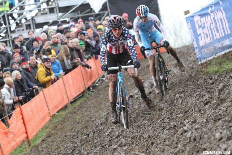 Katie Compton caught Christine Majerus and then pulled away to catch Sanne Cant. Elite Women. 2018 UCI Cyclocross World Championships, Valkenburg-Limburg, The Netherlands. © Bart Hazen / Cyclocross Magazine