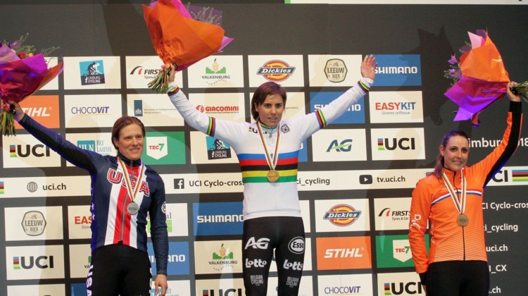 Women's podium: Sanne Cant, Katie Compton and Lucinda Brand. Elite Women. 2018 UCI Cyclocross World Championships, Valkenburg-Limburg, The Netherlands. © Bart Hazen / Cyclocross Magazine