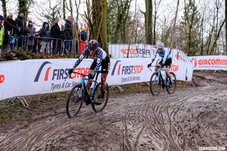Katie Compton and Sanne Cant battled into the last lap. Elite Women, 2018 UCI Cyclocross World Championships, Valkenburg-Limburg, The Netherlands. © Gavin Gould / Cyclocross Magazine
