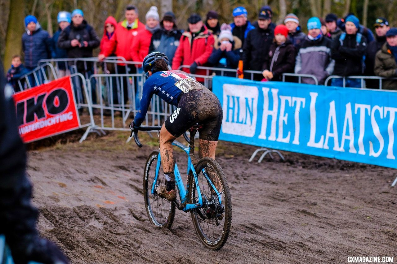 Courtenay McFadden returned from the 2018 World Championships and had surgery on her left hip. Elite Women, 2018 UCI Cyclocross World Championships, Valkenburg-Limburg, The Netherlands. © Gavin Gould / Cyclocross Magazine