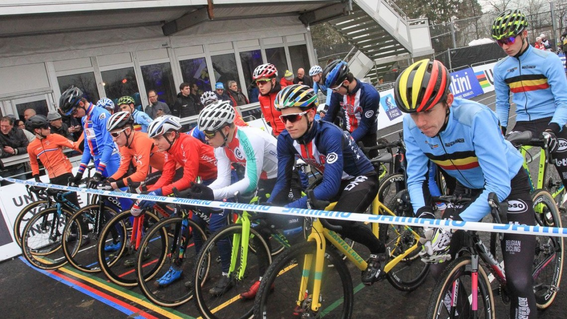 The Junior riders wait for the start of the race. Junior Men. 2018 UCI Cyclocross World Championships, Valkenburg-Limburg, The Netherlands. © Bart Hazen / Cyclocross Magazine