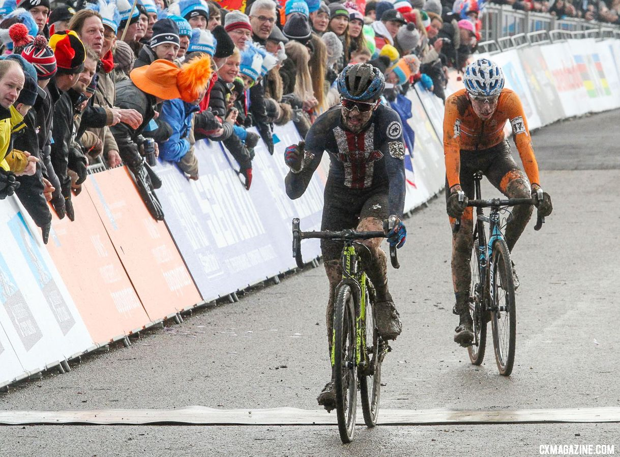 Lane Maher celerates his fifth-place finish. Junior Men. 2018 UCI Cyclocross World Championships, Valkenburg-Limburg, The Netherlands. © Bart Hazen / Cyclocross Magazine